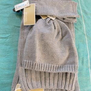 Michael Kors Gray Crystal Hat Scarf and Gloves